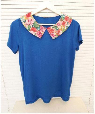 Blue Floral Doll Collar Short Sleeve T-shirt