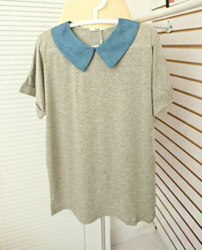 Grey Contrast Jeans Doll Collar Short Sleeve T-shirt