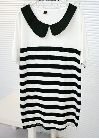 White Striped Chiffon Doll Collar Batwing Short Sleeve T-shirt