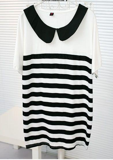 White Striped Chiffon Doll Collar Batwing Short Sleeve T-shirt