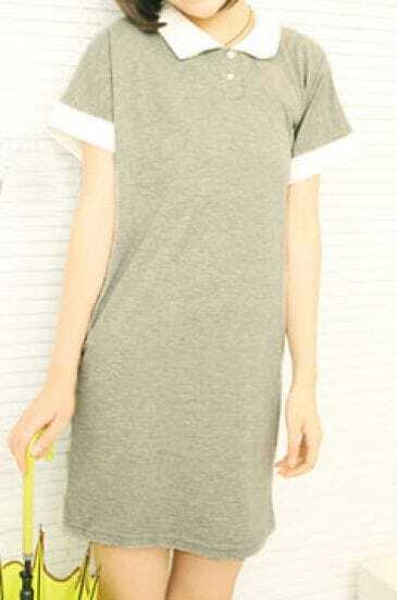 Grey Contrast Lapel Short Sleeve Polo T-shirt