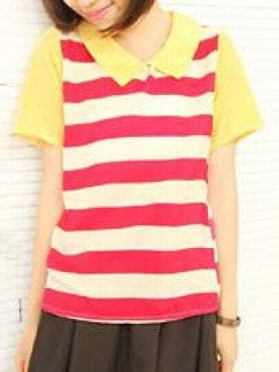 Pink Zipper Back Striped Lapel Short Sleeve T-shirt
