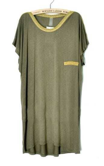Dark Green Short Sleeve Round Border of Gold Neck and Wing in Back T-shirt