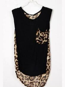 Black Round Neck Sleeveless Leopard Loose Chiffon Shirt