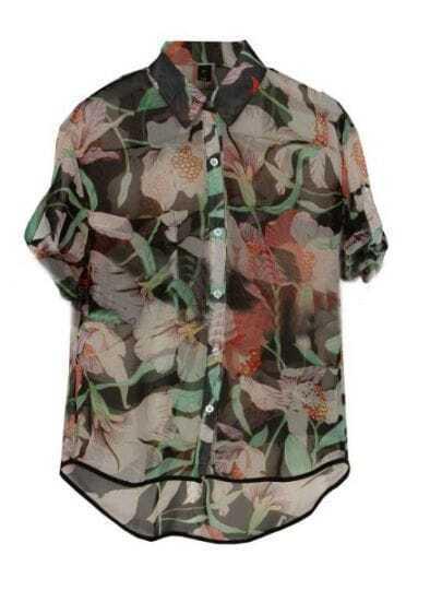 Black Lily Floral Print Turn Up Short Sleeve Dipped Hem Shirt
