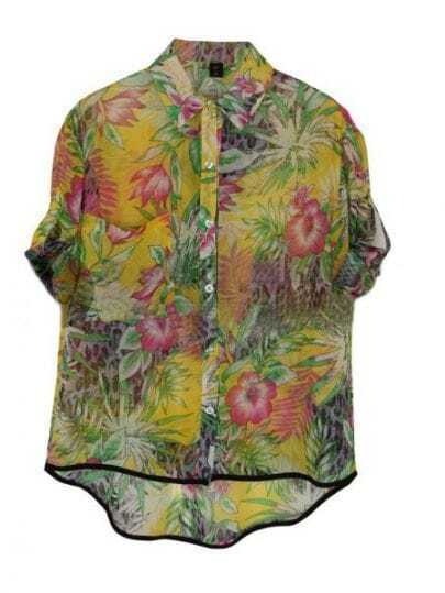 Yellow Tropical Floral Print Turn Up Short Sleeve Dipped Hem Shirt