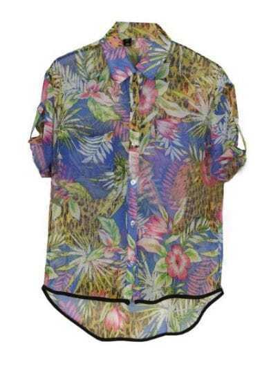 Purple Tropical Floral Print Turn Up Short Sleeve Dipped Hem Shirt