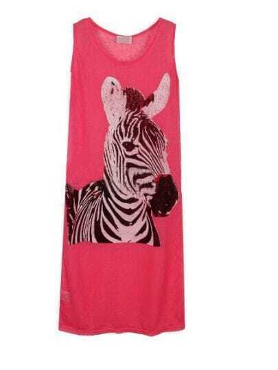 Rose Red Sleeveless Zebra Print Long Tank Top