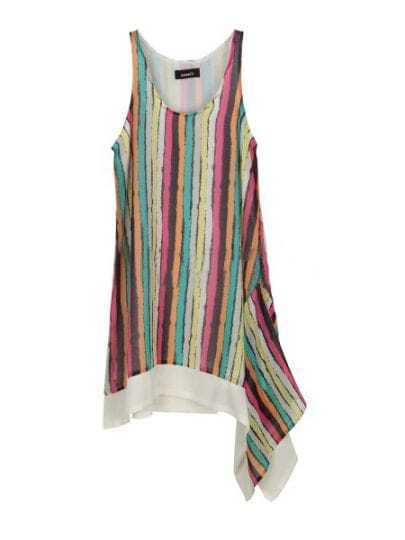 Red Yellow Blue Hanky Hem Vertical Striped Tank Top