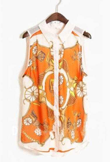Orange Tribal Print Sleeveless Curved Hem Chiffon Shirt