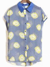 Blue Cap Sleeve Petal Print Contrast Collar Chiffon Shirt