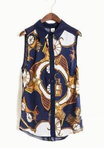 Navy Tribal Print Sleeveless Curved Hem Chiffon Shirt
