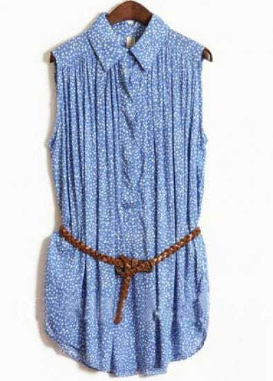 Blue Sleeveless Floral Print Pleated Belted Shirt