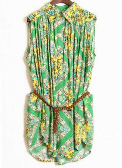 Green Sleeveless Floral Print Pleated Belted Shirt