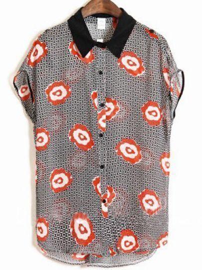 Black Cap Sleeve Petal Print Contrast Collar Chiffon Shirt