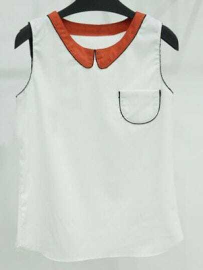 White Contrast Collar and Trim Sleeveless Pocket Chiffon Blouse