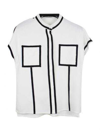 White Contrast Trims Short Sleeve Band Collar Chiffon Shirt