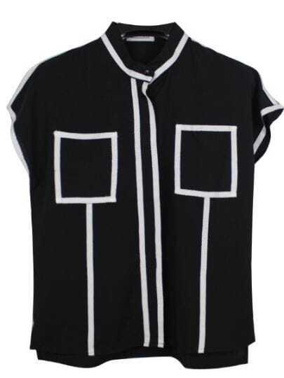 Black Contrast Trims Short Sleeve Band Collar Chiffon Shirt