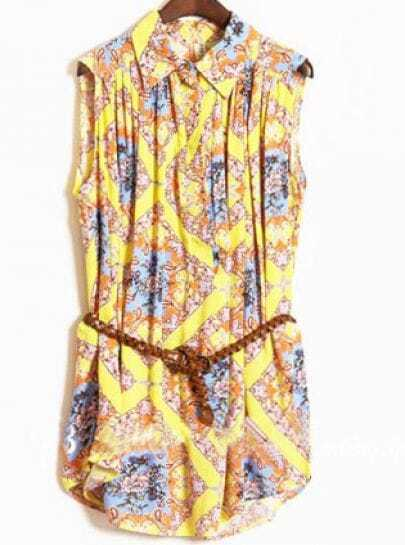 Yellow Sleeveless Floral Print Pleated Belted Shirt