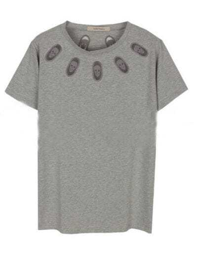 Grey Round Neck Short Sleeve Skull Print Cotton T-Shirt