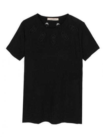 Black Round Neck Short Sleeve Skull Print Cotton T-Shirt