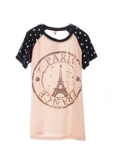 Pink Round Neck Raglan Short Sleeve Star Eiffel Tower Print T-Shirt