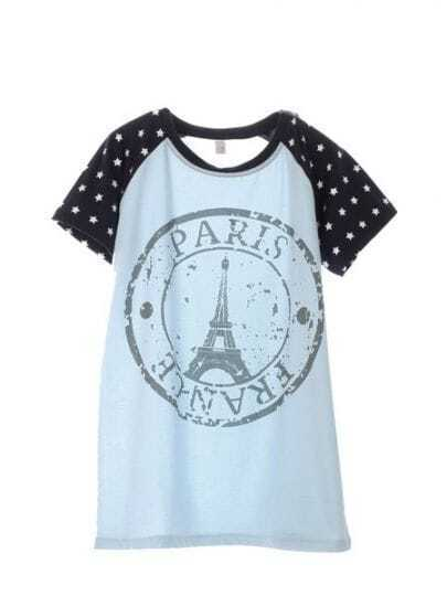 Blue Round Neck Raglan Short Sleeve Star Eiffel Tower Print T-Shirt