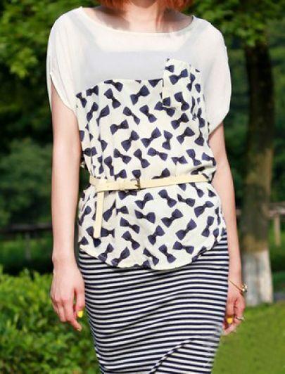 Black Bow Print Short Sleeve Pocket Curved Hem T-Shirt