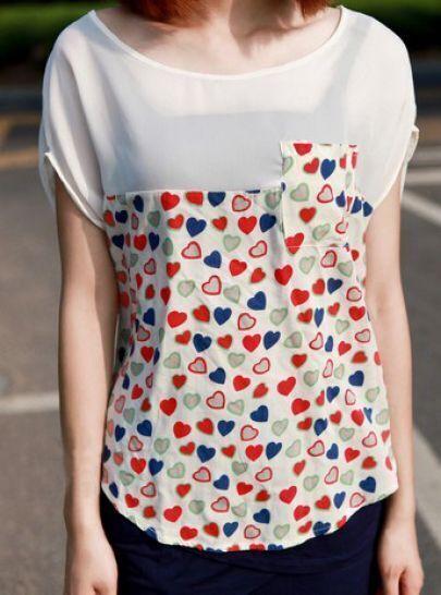 White Heart Print Short Sleeve Pocket Curved Hem T-Shirt