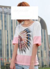 Pink Round Neck Short Sleeve Indian Avatar Print Color Block T-Shirt