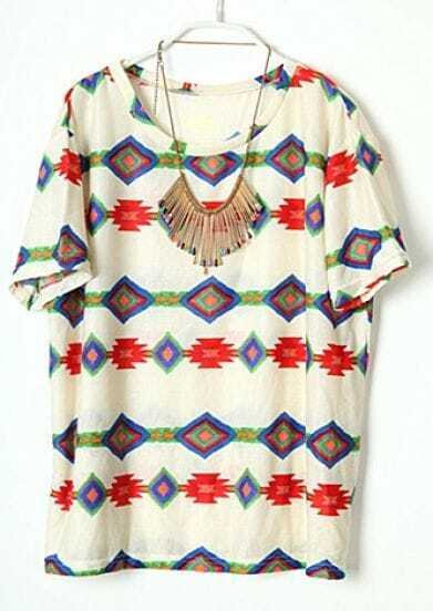 Beige Round Neck Short Sleeve Geometric Print Cotton T-Shirt