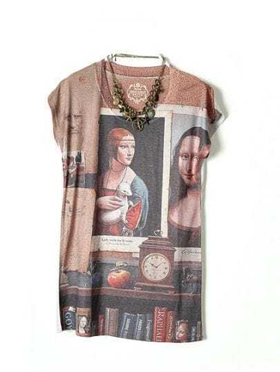 Grey Short Sleeve Mona Lisa Print Cotton T-Shirt