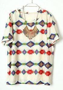 Beige Round Neck Short Sleeve Geometric Print Cotton T-Shirt
