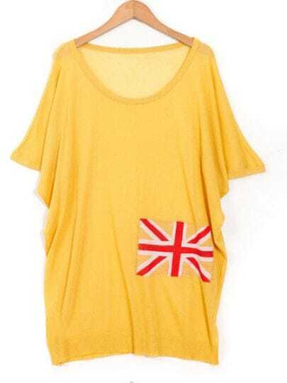 Yellow Round Neck Short Sleeve Batwing British Flag Print T-Shirt