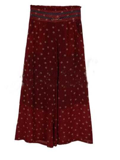 Red Vintage High Waist Polka Dot Chiffon Pants