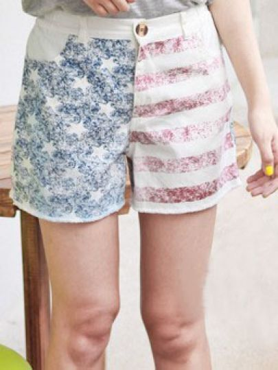 Red Flag Print Elastic Waist Loose Cotton Shorts