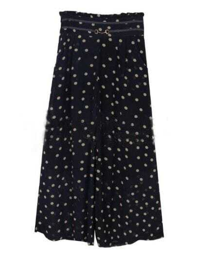 Navy Vintage High Waist Polka Dot Chiffon Pants