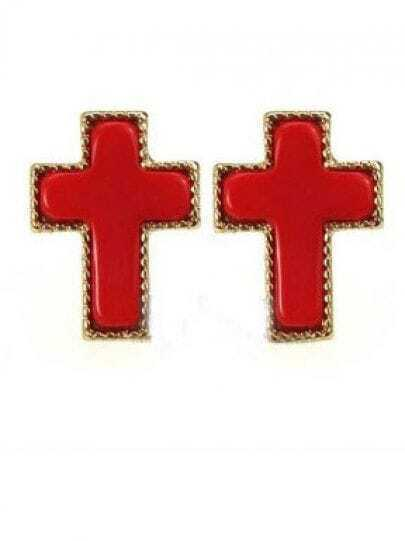 Red Cross Stud Earrings
