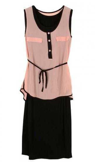 Pink Tie Front Contrast Chiffon Placket Vest Two-piece Dress