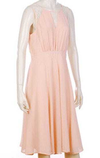 Pink Lace Patched Round Neck Sleeveless Keyhole Dress