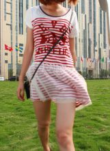 Red EVD ATHLETICS Striped Short Sleeve Dress with Tulle Skirt