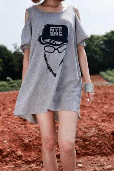 Grey MYE DMC Hat Glasses Print Cut Out Shoulder Dress