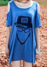 Blue MYE DMC Hat Glasses Print Cut Out Shoulder Dress