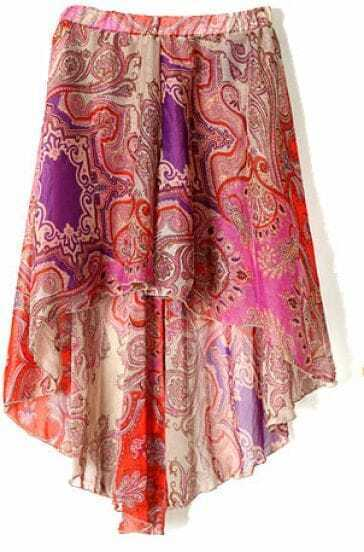 Purple Tribal Print Dipped Hem Elastic Waist Skirt