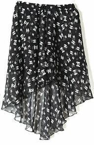 Black Double C Print Dipped Hem Elastic Waist Skirt