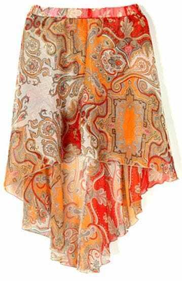 Orange Tribal Print Dipped Hem Elastic Waist Skirt