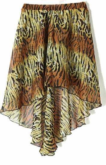 Golden Zebra Print Dipped Hem Elastic Waist Skirt