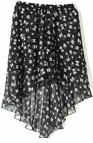 Black Double C Print Dipped Hem Elastic Waist Skirt