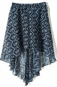Navy Blue Small Floral Print Dipped Hem Elastic Waist Skirt