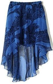 Navy Tribal Print Dipped Hem Elastic Waist Chiffon Skirt